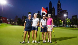 a round of night golf to celebrate the Omega Dubai Moonlight Classic